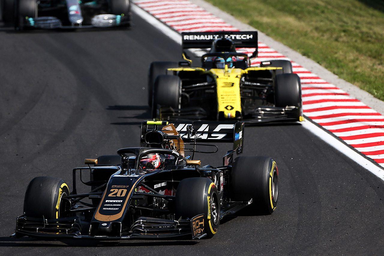 2019年F1第12戦ハンガリーGP ケビン・マグヌッセン(ハース)、ダニエル・リカルド(ルノー)