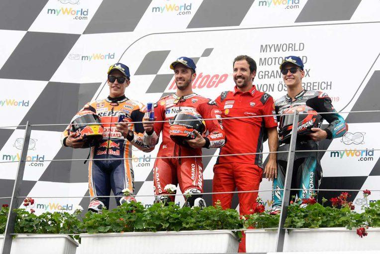 MotoGP | 2勝目を挙げたドヴィツィオーゾ「マルクには僕よりグリップがなかった」/MotoGP第11戦オーストリアGP 決勝トップ3コメント