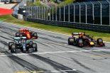 2019年F1オーストリアGP予選トップ3のルクレール(フェラーリ)、ハミルトン(メルセデス)、フェルスタッペン(レッドブル・ホンダ)