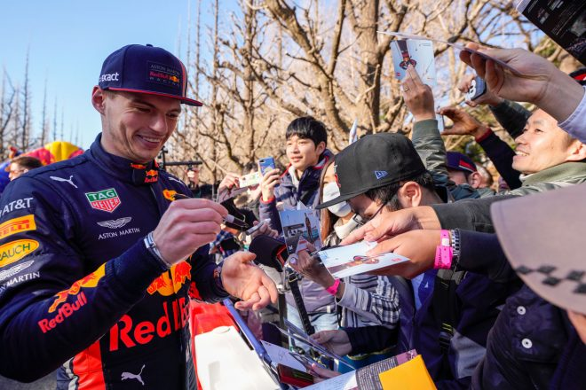 2019年にデモランのため日本を訪れたマックス・フェルスタッペン(レッドブル)