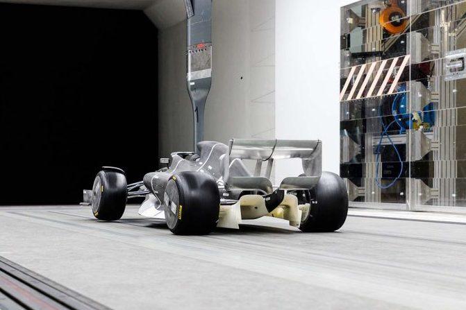 F1の2021年型マシンの空力デザインを風洞実験映像