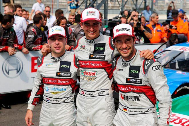 アウディの表彰台独占を喜ぶミュラー、フラインス、ロッケンフェラーの3人