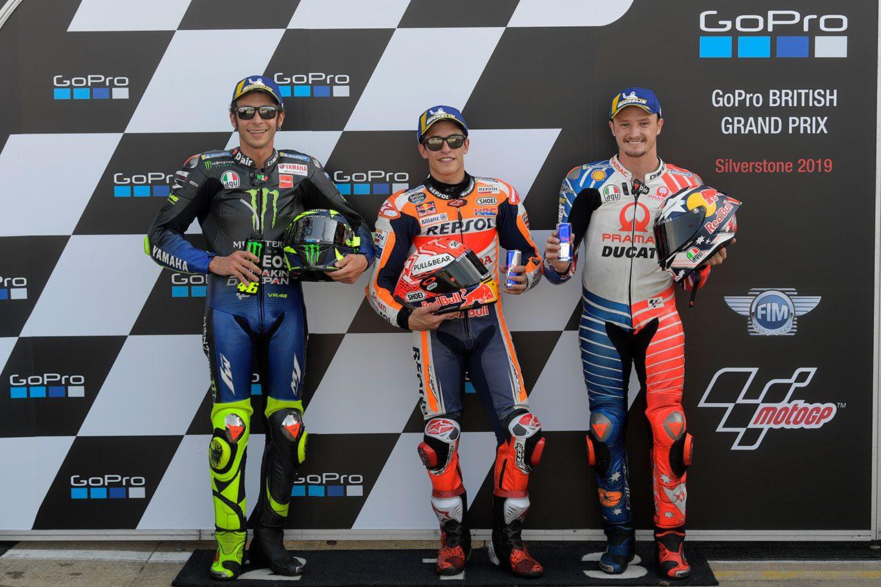 ポールをさらったマルケス「いい戦略を採れた」/MotoGP第12戦イギリスGP 予選/決勝トップ3コメント