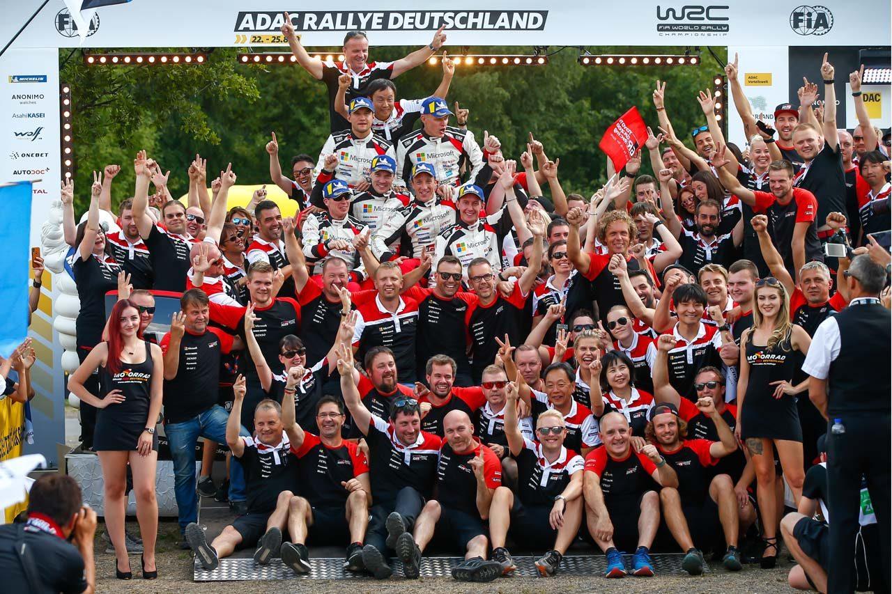 WRC:トヨタ、TMGの本拠ドイツでチーム初1-2-3フィニッシュ達成! マキネン「過去にも似たような状況はあったが……」