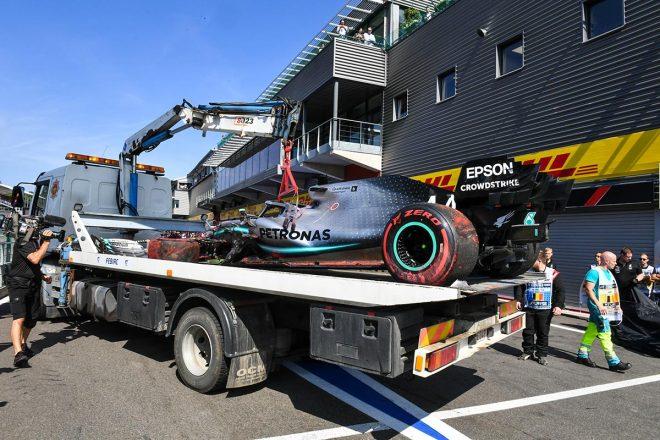 2019年F1第13戦ベルギーGP FP3でクラッシュしたルイス・ハミルトンのマシン