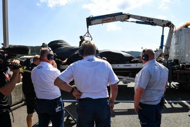 2019年F1第13戦ベルギーGP クラッシュしたルイス・ハミルトンのマシン