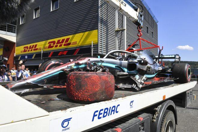 2019年F1第13戦ベルギーGP ルイス・ハミルトン(メルセデス)がFP3でクラッシュ