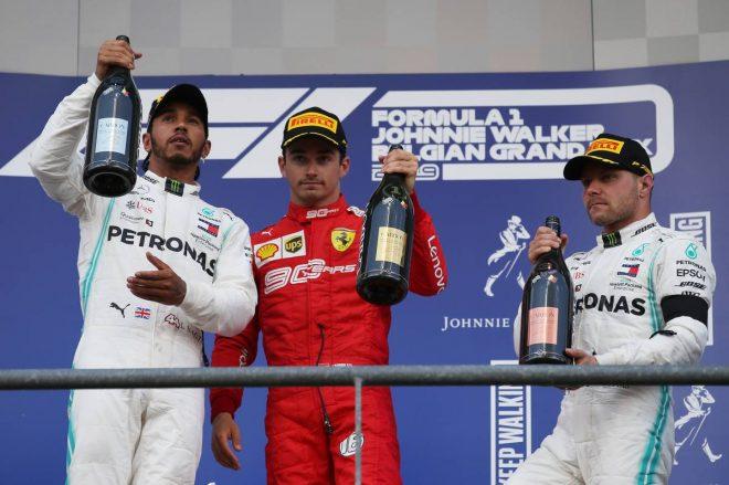 2019年F1第13戦ベルギーGP 優勝:シャルル・ルクレール、2位:ルイス・ハミルトン、3位:バルテリ・ボッタス