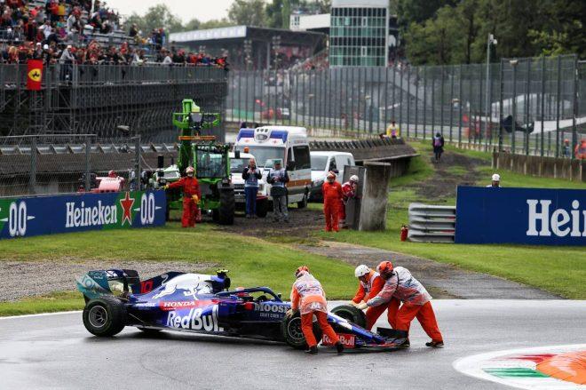2019年F1第14戦イタリアGP ピエール・ガスリー(トロロッソ・ホンダ)はFP1でスピン