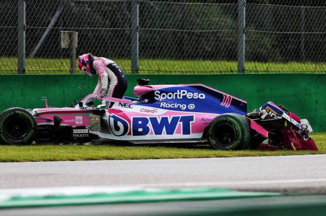 2019年F1第14戦イタリアGP FP1でセルジオ・ペレス(レーシングポイント)がクラッシュ
