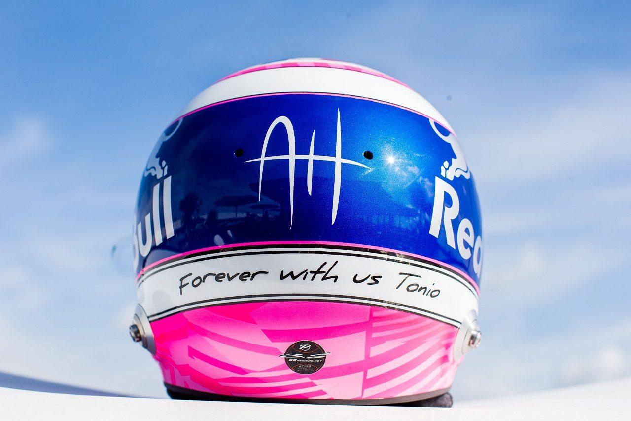 2019年F1第14戦イタリアGP土曜 ピエール・ガスリー(トロロッソ・ホンダ)のスペシャルカラーヘルメット。亡き友アントワーヌ・ユベールへの思いを込める