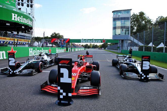2019年F1第14戦イタリアGP土曜 予選トップ3のルクレール、ハミルトン、ボッタスのマシン