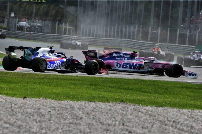 2019年F1第14戦イタリアGP セバスチャン・ベッテルに巻き込まれる形でスピンしてしまったランス・ストロール