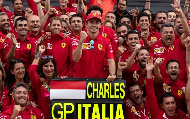 2019年F1第14戦イタリアGP日曜 シャルル・ルクレールの優勝を祝うフェラーリF1チーム