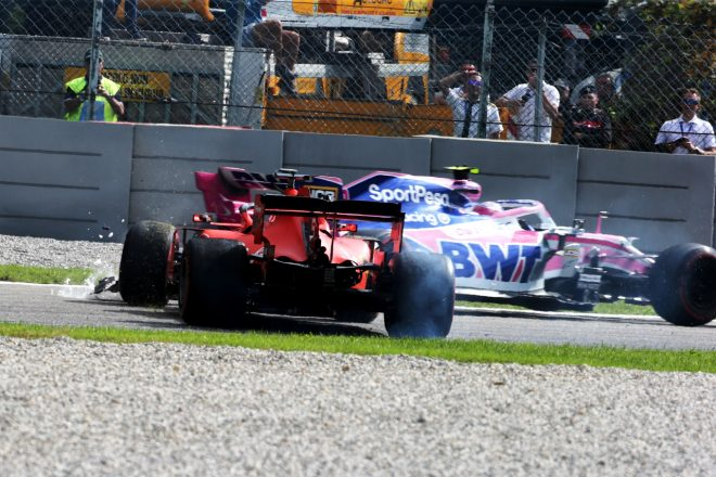 2019年F1第14戦イタリアGP セバスチャン・ベッテル(フェラーリ)がランス・ストロール(レーシングポイント)と接触