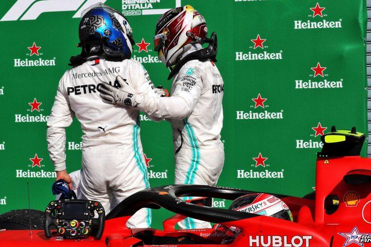 F1   ボッタス2位「フェラーリはストレートであまりにも速く、どうしても抜けなかった」:メルセデス F1イタリアGP日曜