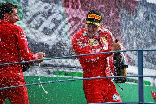 2019年F1第14戦イタリアGPで勝利したシャルル・ルクレール