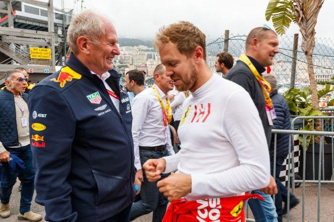2019年F1モナコGP レッドブル・モータースポーツコンサルタントのヘルムート・マルコとフェラーリのセバスチャン・ベッテル