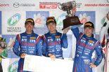 ピレリスーパー耐久シリーズもてぎでST-3優勝を飾ったDENSO Le Beausset RC350の嵯峨宏紀、山下健太、小河諒