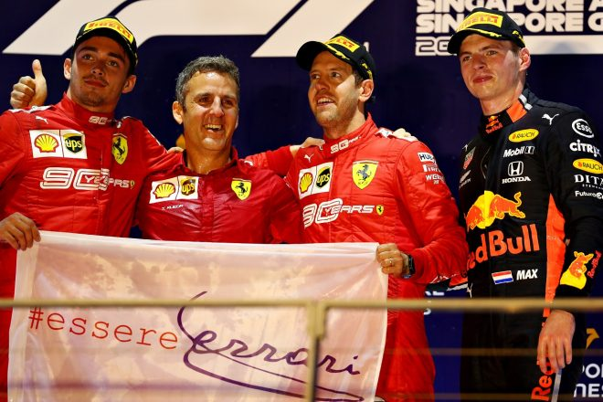2019年F1第15戦シンガポールGP 表彰台でのセバスチャン・ベッテル、シャルル・ルクレール、マックス・フェルスタッペン