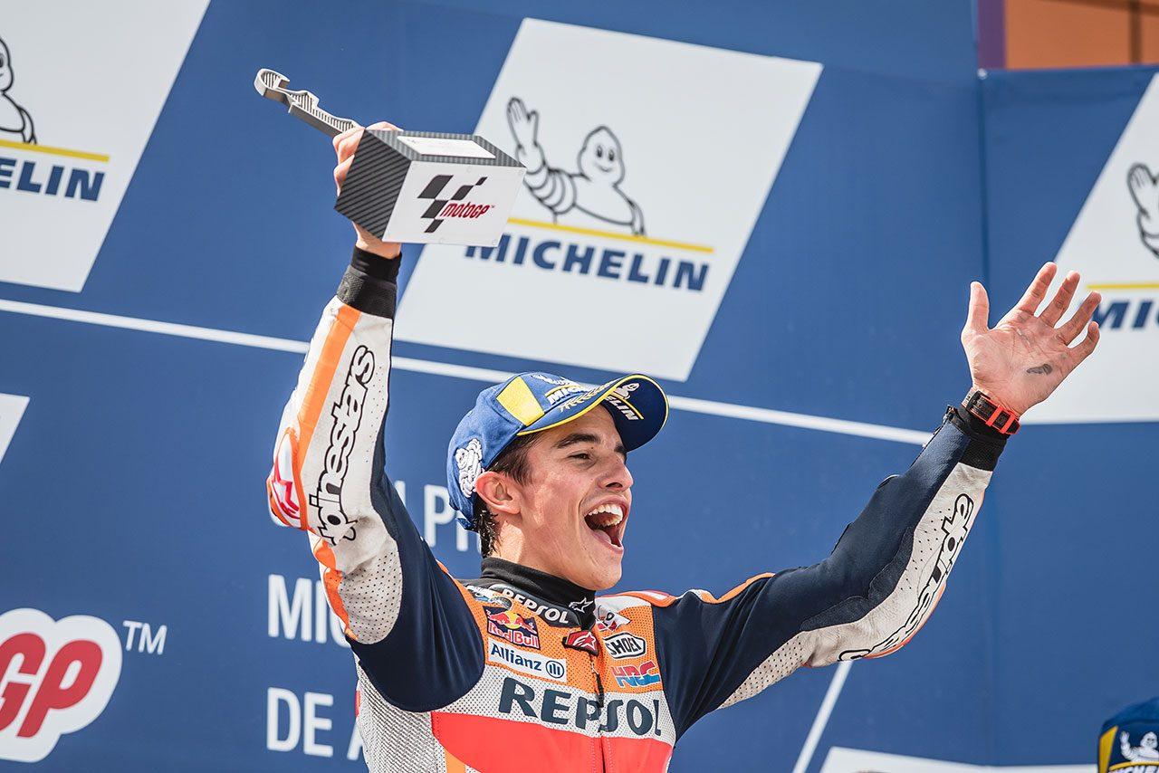 MotoGPアラゴンGP:マルケス、地元でタイトルを大きく手繰り寄せる勝利。「戦略をしっかり把握していた」