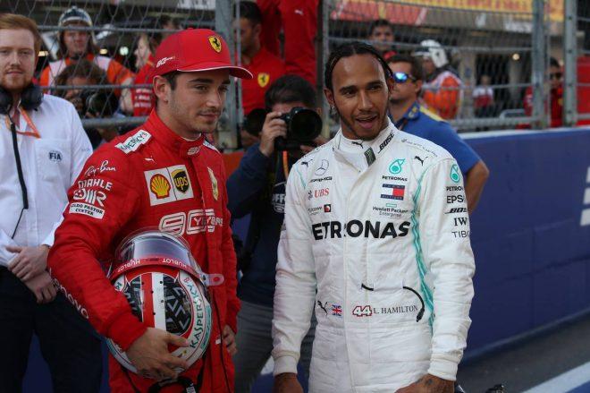 2019年F1第16戦ロシアGP シャルル・ルクレール(フェラーリ)、ルイス・ハミルトン(メルセデス)