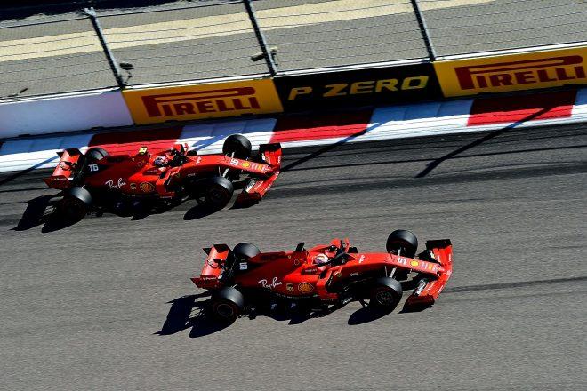 2019年F1第16戦ロシアGP セバスチャン・ベッテルとシャルル・ルクレール(フェラーリ)