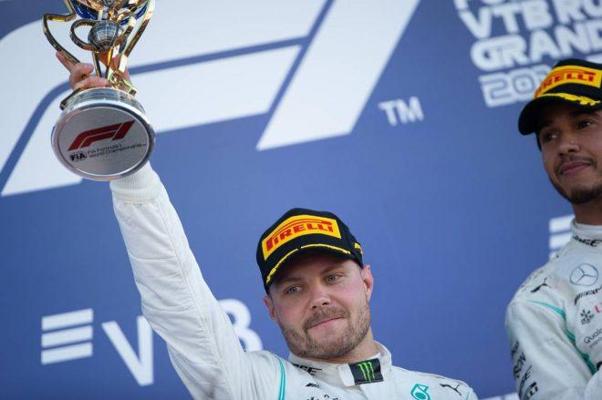 2019年F1第16戦ロシアGP決勝で2位表彰台を獲得したバルテリ・ボッタス(メルセデス)