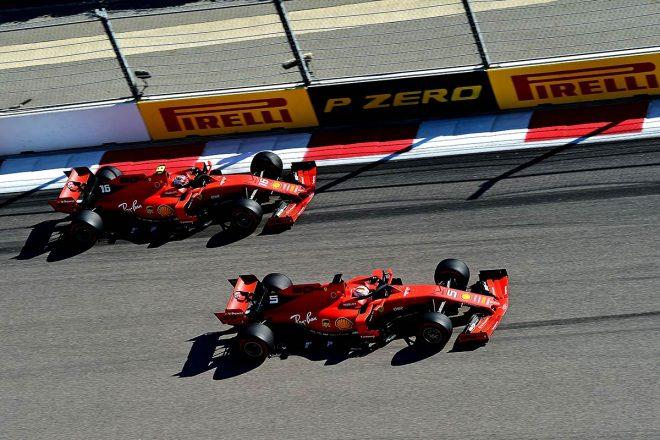 2019年F1第16戦ロシアGP決勝のスタートでトップに立ったセバスチャン・ベッテル