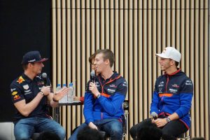 F1 | 東京・青山にホンダF1のフェルスタッペン、クビアト、ガスリー集結。日本GPの「目標は優勝すること。そのためにベストを尽くす」