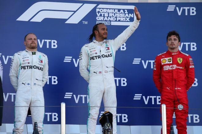 2019年F1第16戦ロシアGP ルイス・ハミルトンとバルテリ・ボッタス(メルセデス)がワンツー達成、3位にシャルル・ルクレール(フェラーリ)