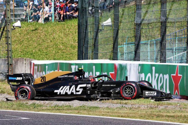 2019年F1第17戦日本GP予選Q1でケビン・マグヌッセンもクラッシュ