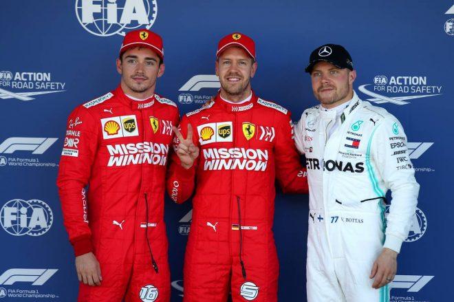2019年F1第17戦日本GP予選 PP:セバスチャン・ベッテル、2番手:シャルル・ルクレール、3番手:バルテリ・ボッタス