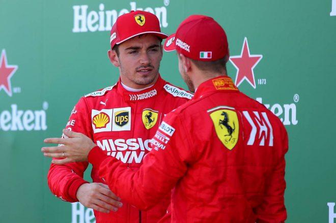 2019年F1第17戦日本GP予選 PPのセバスチャン・ベッテルと2番手のシャルル・ルクレール