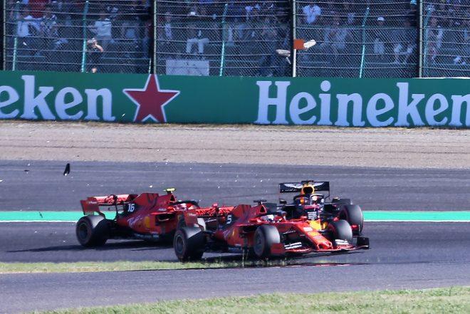 2019年F1第17戦日本GP シャルル・ルクレール(フェラーリ)とマックス・フェルスタッペン(レッドブル・ホンダ)が接触