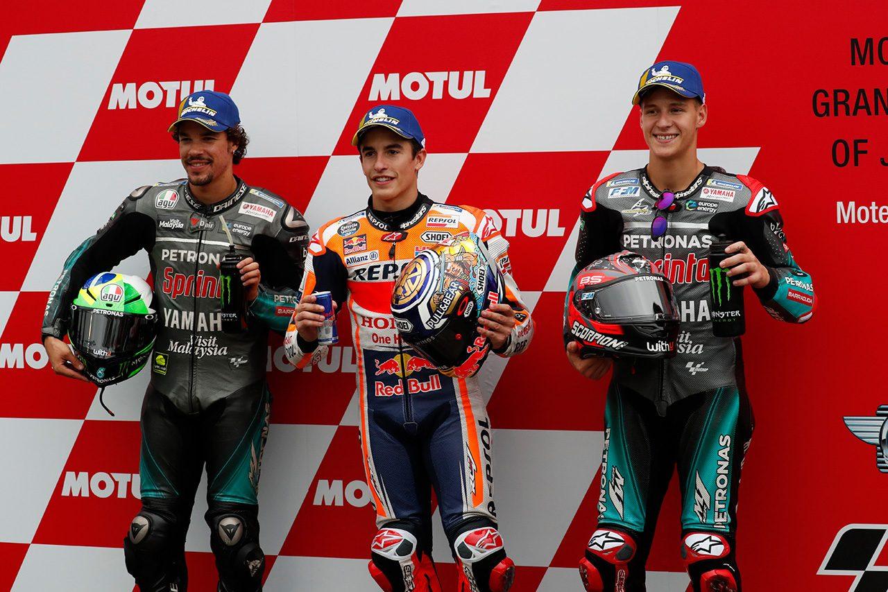 マルケス、変化激しい天候で「コンディションはわからないけど勝ちたい」/MotoGP第16戦日本GP 予選トップ3コメント