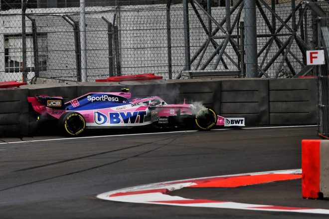 2019年F1第18戦メキシコGP FP1でランス・ストロールがクラッシュ
