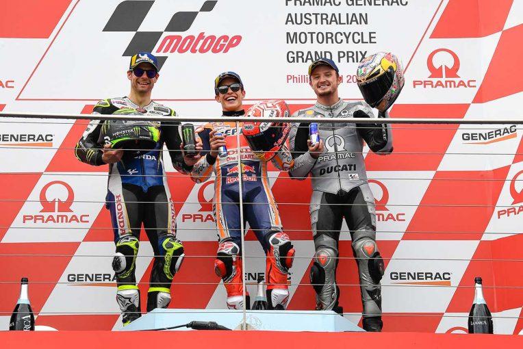 MotoGP | マルケス、最終周は「10コーナーで仕掛けてくると思っていた」/MotoGP第17戦オーストラリアGP 決勝トップ3コメント