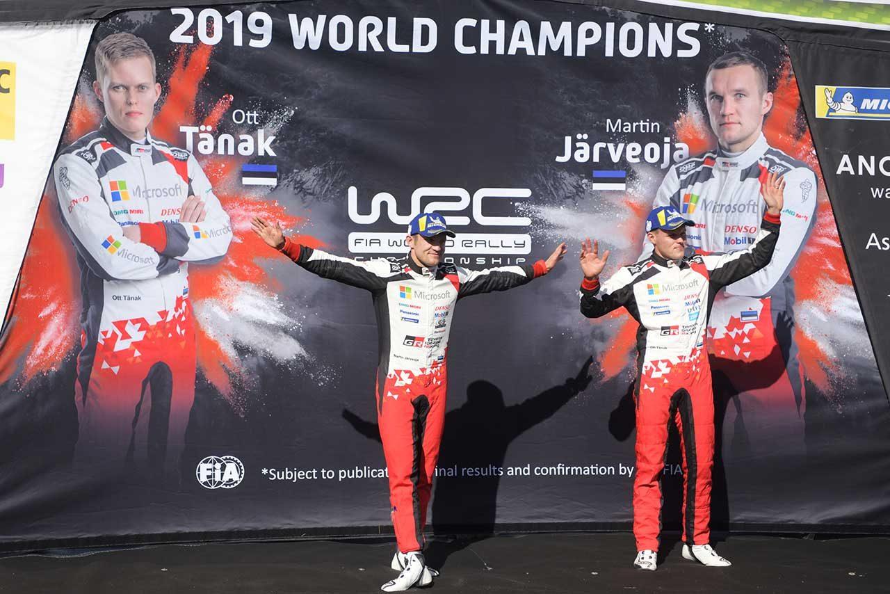 2019年のWRCドライバーズタイトル/コドライバーズタイトルを獲得したオット・タナクとマルティン・ヤルヴェオヤ(トヨタ・ヤリスWRC)