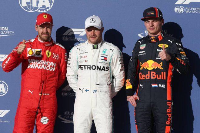 2019年F1第19戦アメリカGP ポールポジションのバルテリ・ボッタス、2番手セバスチャン・ベッテル、3番手マックス・フェルスタッペン
