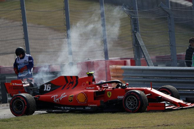 2019年F1第19戦アメリカGP FP3でPUトラブルに見舞われたシャルル・ルクレール(フェラーリ)