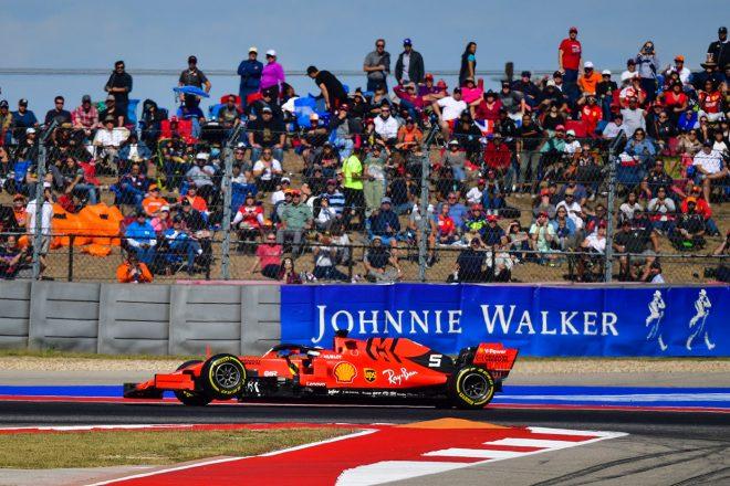 2019年F1第19戦アメリカGP決勝 セバスチャン・ベッテルは右リヤサスペンションが破損しリタイア