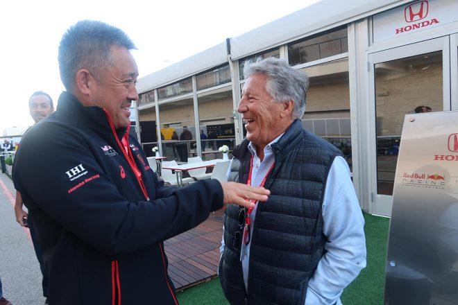 2019年F1第19戦アメリカGP 元F1チャンピオンのマリオ・アンドレッティ、山本雅史マネー ジングディレクター
