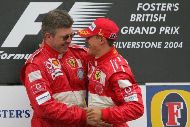 2004年イギリスGPでのミハエル・シューマッハーとロス・ブラウン