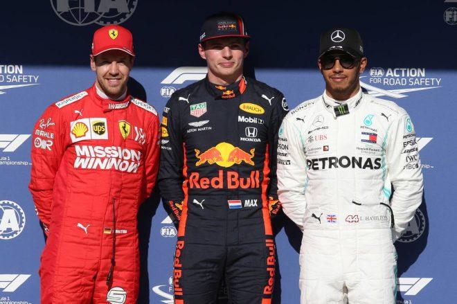 2019年F1第20戦ブラジルGP 予選PP:マックス・フェルスタッペン、2番手:セバスチャン・ベッテル、3番手:ルイス・ハミルトン
