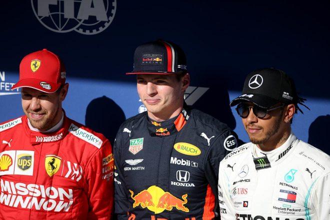 2019年F1第20戦ブラジルGP PPを獲得したマックス・フェルスタッペン、2番手セバスチャン・ベッテル、3番手ルイス・ハミルトン