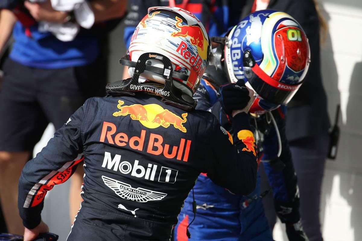 2019年F1第20戦ブラジルGP マックス・フェルスタッペン(レッドブル・ホンダ)、ピエール・ガスリー(トロロッソ・ホンダ)
