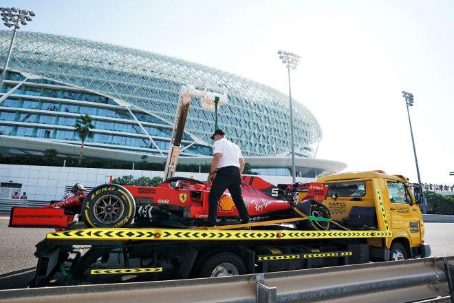 2019年F1第21戦アブダビGP クラッシュしたセバスチャン・ベッテルのフェラーリSF90