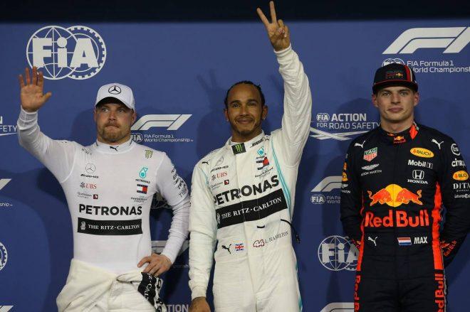 2019年F1最終戦アブダビGP PP:ルイス・ハミルトン、2番手:バルテリ・ボッタス、3番手:マックス・フェルスタッペン