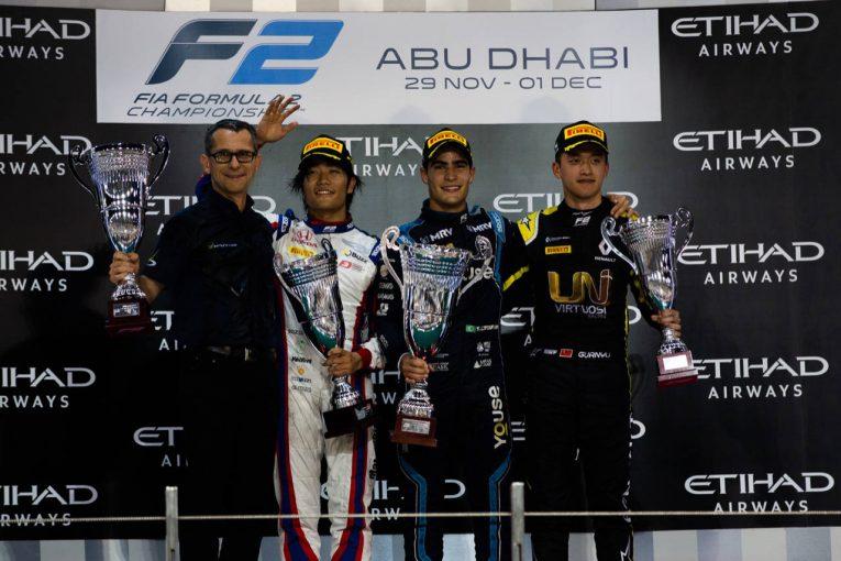 海外レース他 | FIA-F2第12戦アブダビ レース1:好バトルの末に松下信治が2位表彰台を獲得。セッテ・カマラが2勝目